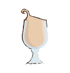 Drawing glass coffee drink liquor vector