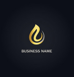 Droplet abstract gold logo vector