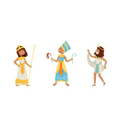 Egyptian god and deities wearing antique clothing vector