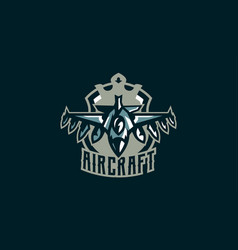 Emblem of a military aircraft aircraft logo vector
