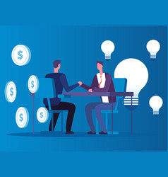 exchange of ideas for money businessman buys vector image