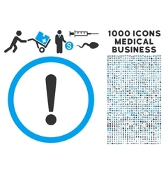 Exclamation Sign Icon with 1000 Medical Business vector