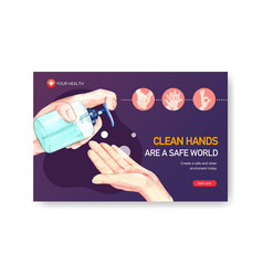 Facebook template design with hand sanitizer vector