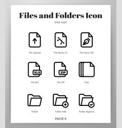 Files and folders icons line pack vector