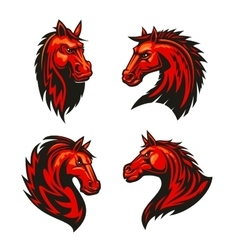 fire horses mascots with tribal flame ornaments vector image