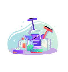 flat cleaning items with spray napkins sponge vector image