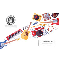 Flat rock musical instruments colorful concept vector