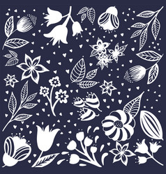 flowers seamless pattern white silhouettes vector image