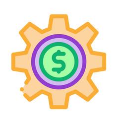gear dollar coin icon outline vector image
