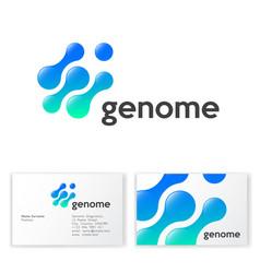 genome logo molecules gene blue cells vector image