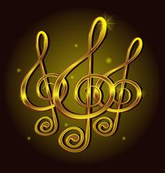 Gold treble clef music sign note decorative icon vector