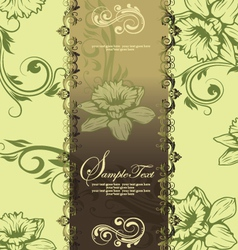 green swirly invitation card vector image