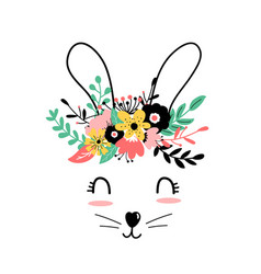 hand drawing print design sweet bunny and flower vector image