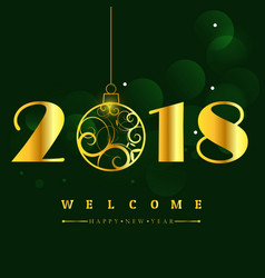 happy new year 2018 with glitter text design of vector image