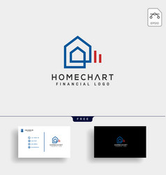 Home chart financial logo template vector