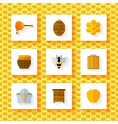 Honey elements set vector image
