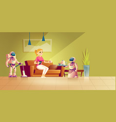house robots technologies cartoon concept vector image