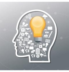 human head and big idea design vector image