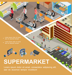 isometric shopping mall concept vector image