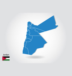 Jordan map design with 3d style blue jordan map vector