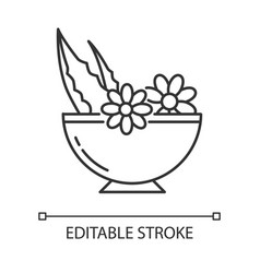 Leaves in bowl pixel perfect linear icon vector