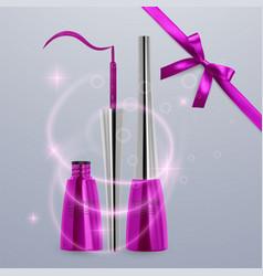 Liquid eyeliner set of bright pink color vector