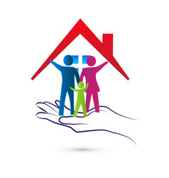 Loving family with caring hands icon vector