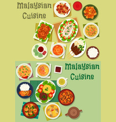 malaysian cuisine icon set for healthy food design vector image