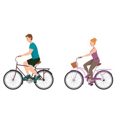 man and woman riding bicycle vector image