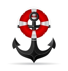 Metallic anchor and life preserver hanging on it vector
