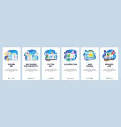 mobile app onboarding screens digital art vector image