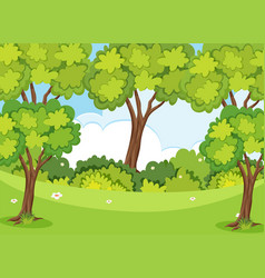 Nature scene with trees and lawn vector