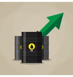 Oil barrel and green chart graph arrow pointing up vector