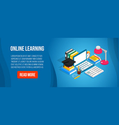 online learning concept banner isometric style vector image