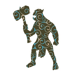 orc pattern silhouette monster villain fantasy vector image