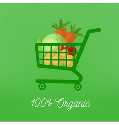 Organic Food Vegetables in Shopping Cart vector