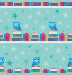 Owl bookshelf stripe seamless pattern vector