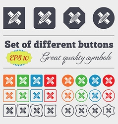 Pencil with ruler icon sign Big set of colorful vector