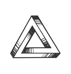 Penrose impossible tribar triangle engraving vector