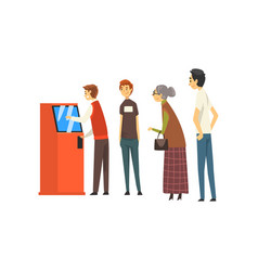 people waiting in line queue to draw money from vector image