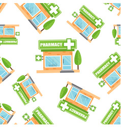 pharmacy drugstore shop seamless pattern vector image