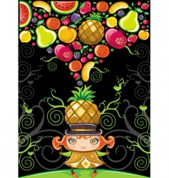 pineapple girl fruity vector image