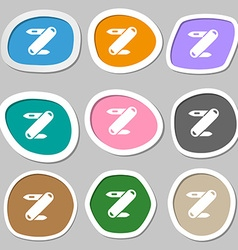 Pocket knife icon symbols Multicolored paper vector