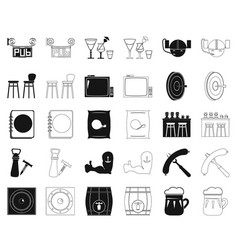 Pub interior and equipment blackoutline icons in vector