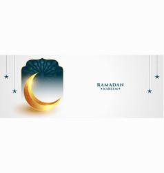 Ramadan kareem arabic banner with eid golden moon vector