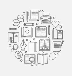 Reading or literature circular vector