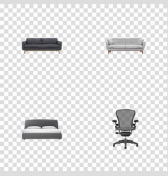 Realistic boss armchair mattress lounge and vector