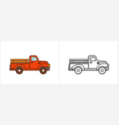 retro red pickup truck coloring page for kids vector image
