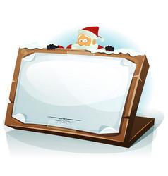 santa claus behind christmas background vector image