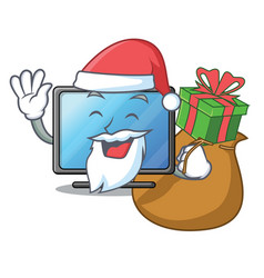 Santa with gift lcd tv isolated with the character vector